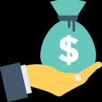 Graphic icon, bag of money